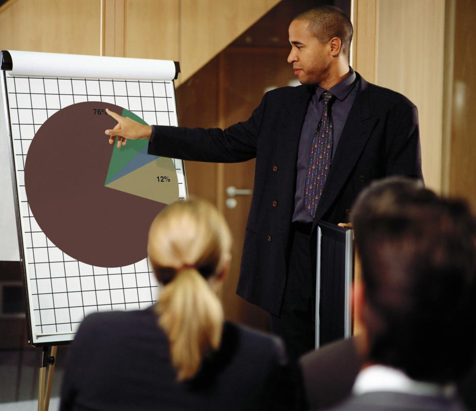 Charts and other visuals are often incorporated into an investment presentation.