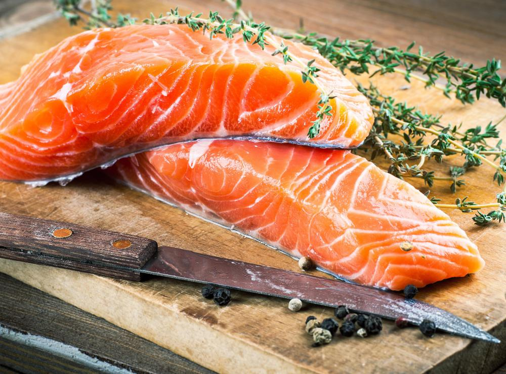 Many fish, like salmon, can help a person maintain healthy leptin levels.