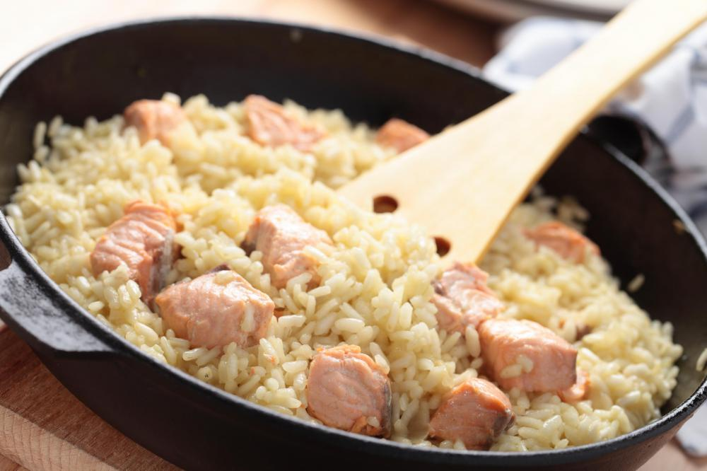 Salmon is a healthy source of protein that can be added to a risotto.