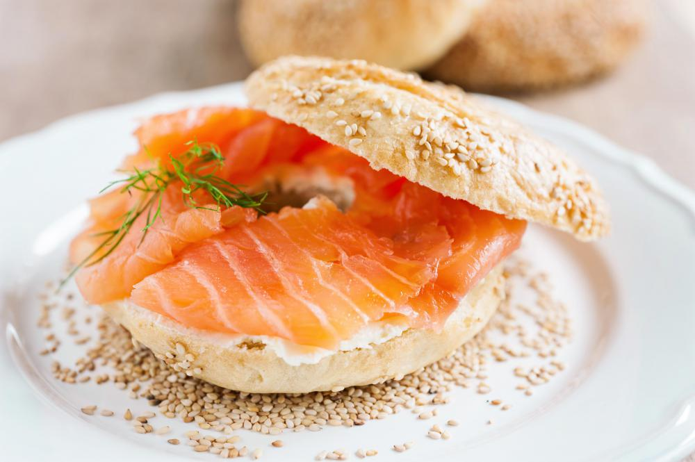 Smoked salmon can be eaten with any flavor of bagel.