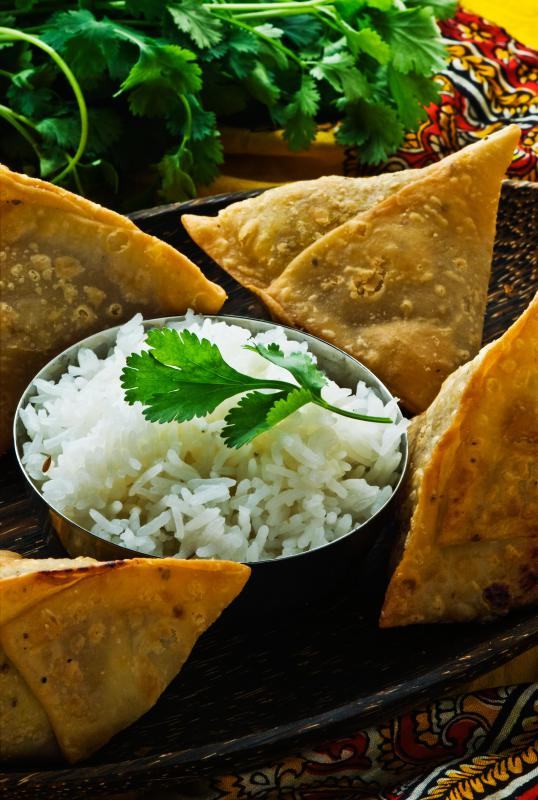 Samosas can be stuffed with keema.