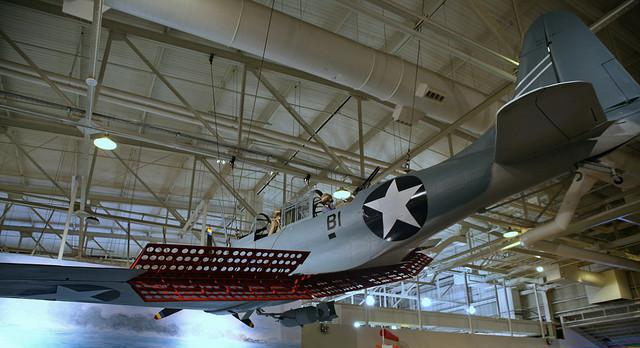 The SBD-6 Dauntless, which was the USN's primary dive bomber during World War II, was the aircraft type that scored the most hits on the Japanese carriers at Midway.