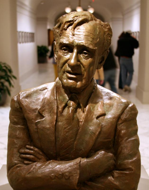 Sculpture of Elie Wiesel, recipient of the Nobel Peace Prize in 1986.