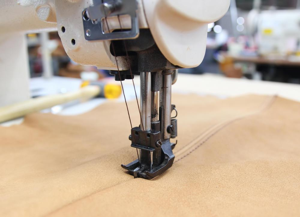 Heavy-duty sewing machines are often required to sew together leather upholstery.