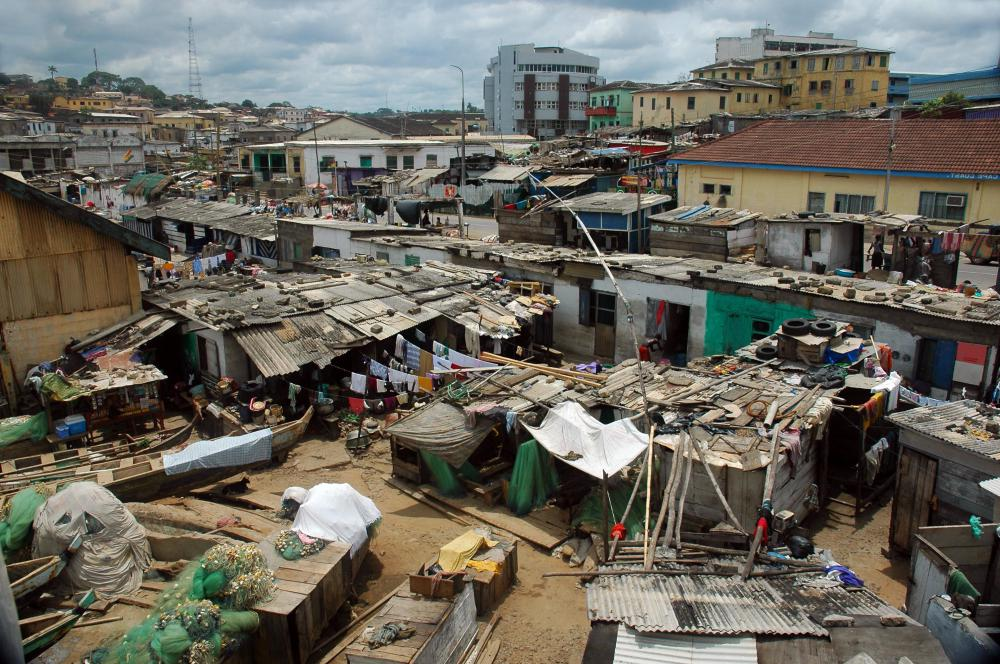 The poor sanitation found in slums can breed disease.
