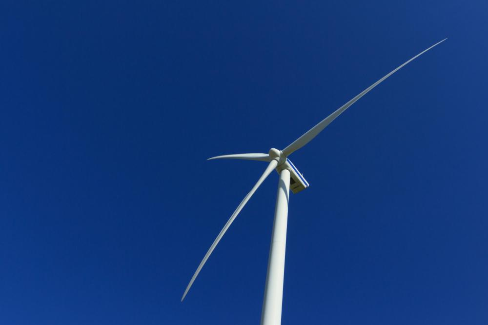 A television with Auto Motion Plus technology would provide a sharp image of a wind turbine in motion.