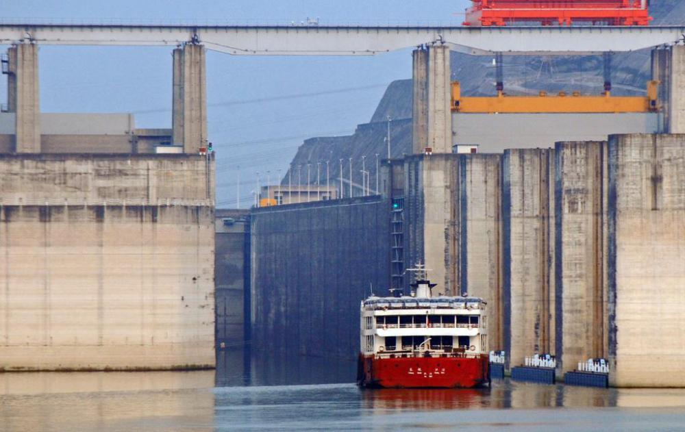 A ship going through a lock at the Three Gorges Dam, the world's largest hydroelectric dam.