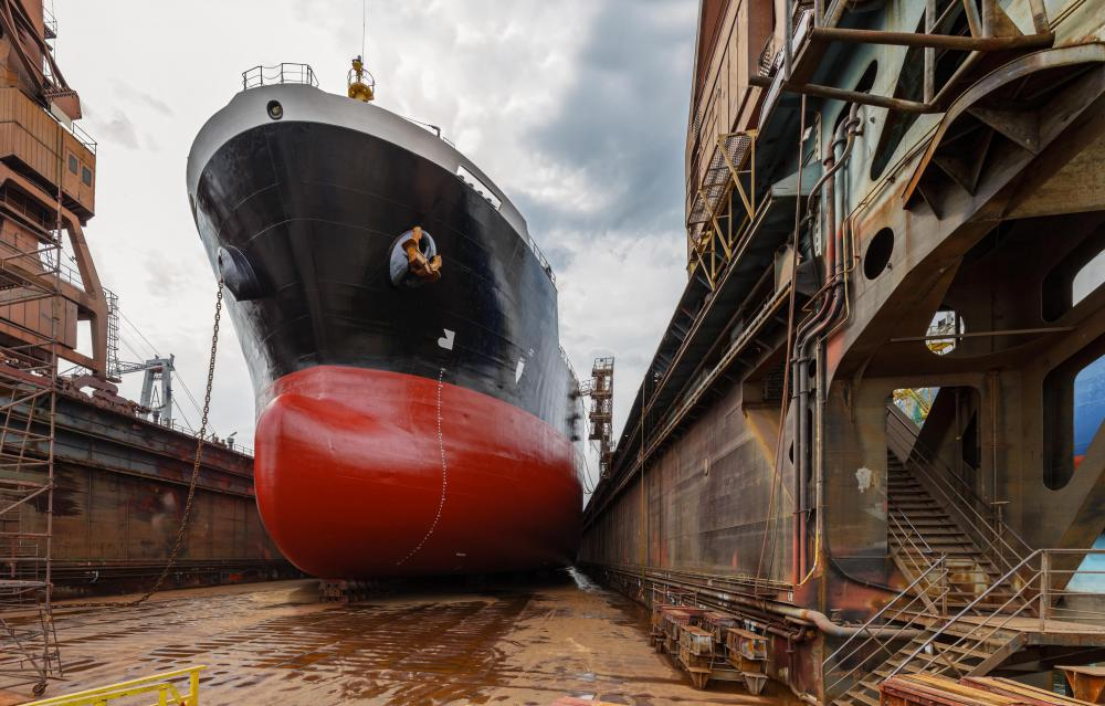 A ship with a hull that has been damaged by an iceberg may have to be repaired in dry-dock.