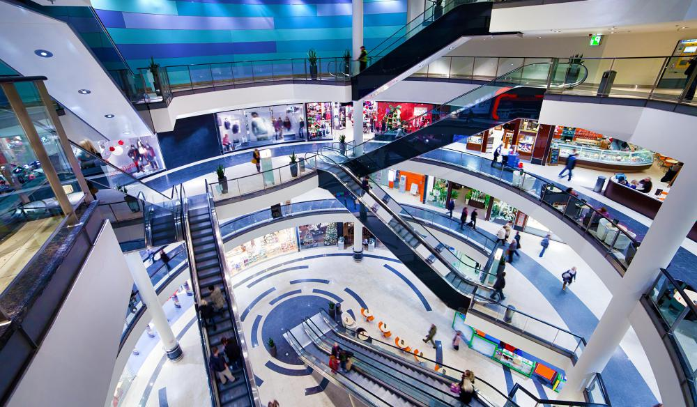 Retail managers may oversee storefronts in a shopping mall.