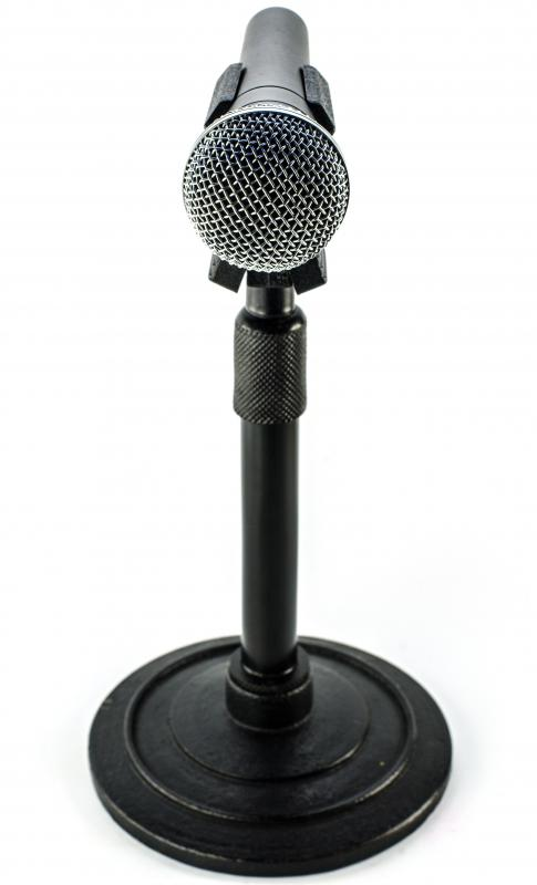 A short microphone stand may be used on a podium.