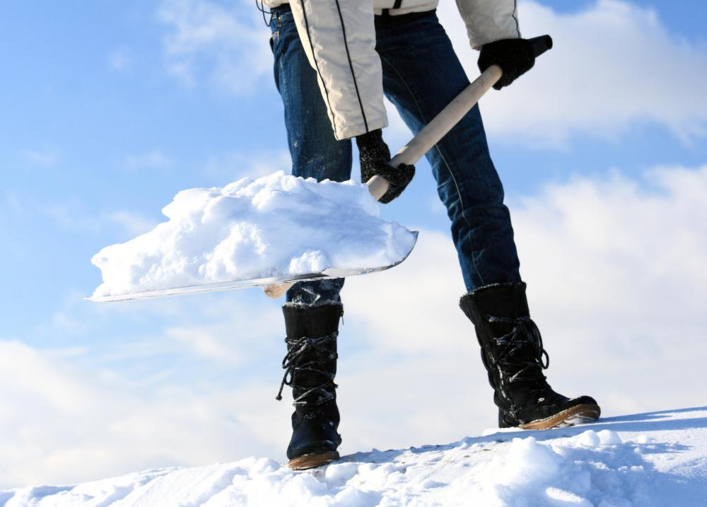 Breaks should be taken as needed when shoveling snow.
