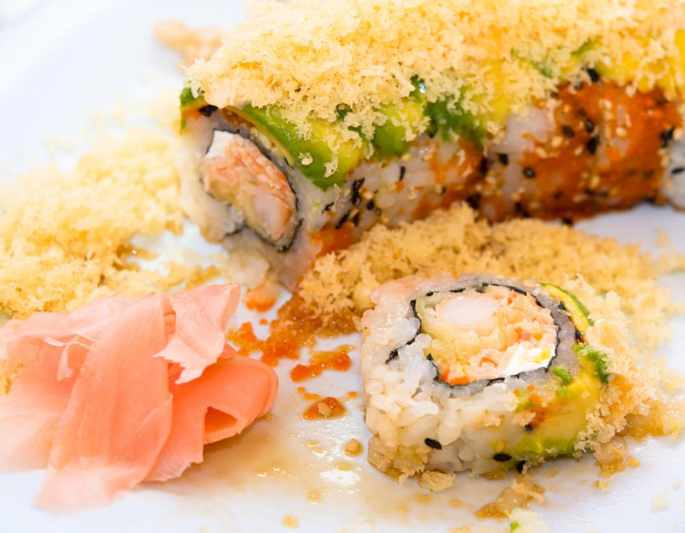 Deep-fried shrimp are used in shrimp tempura rolls.