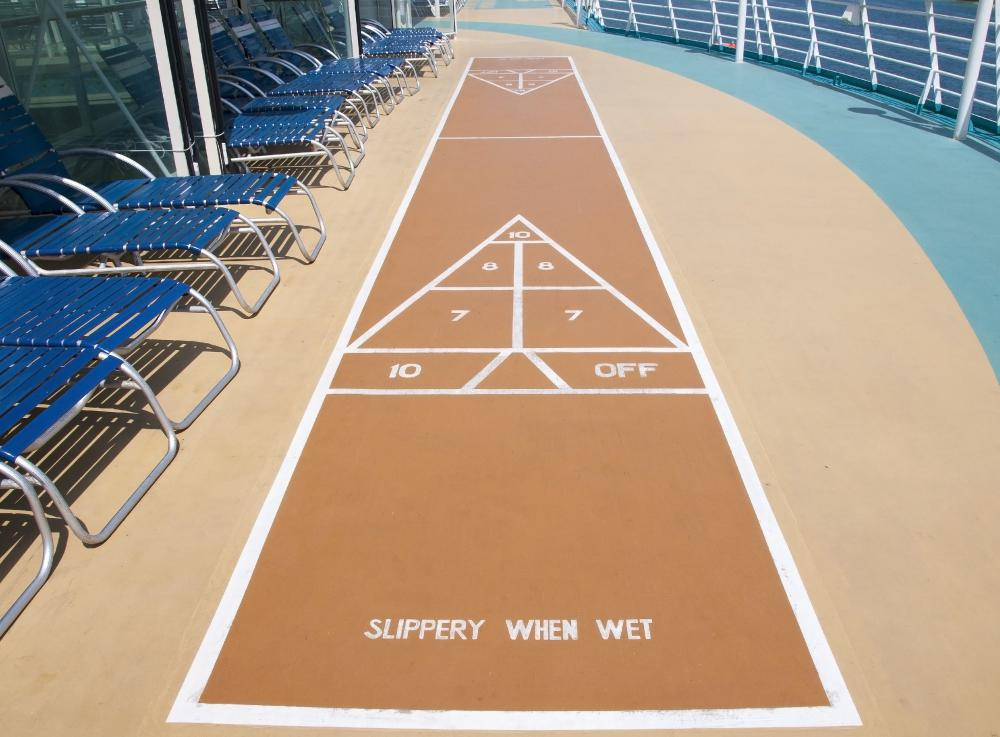 Shuffle board is a popular activity at nudist resorts.