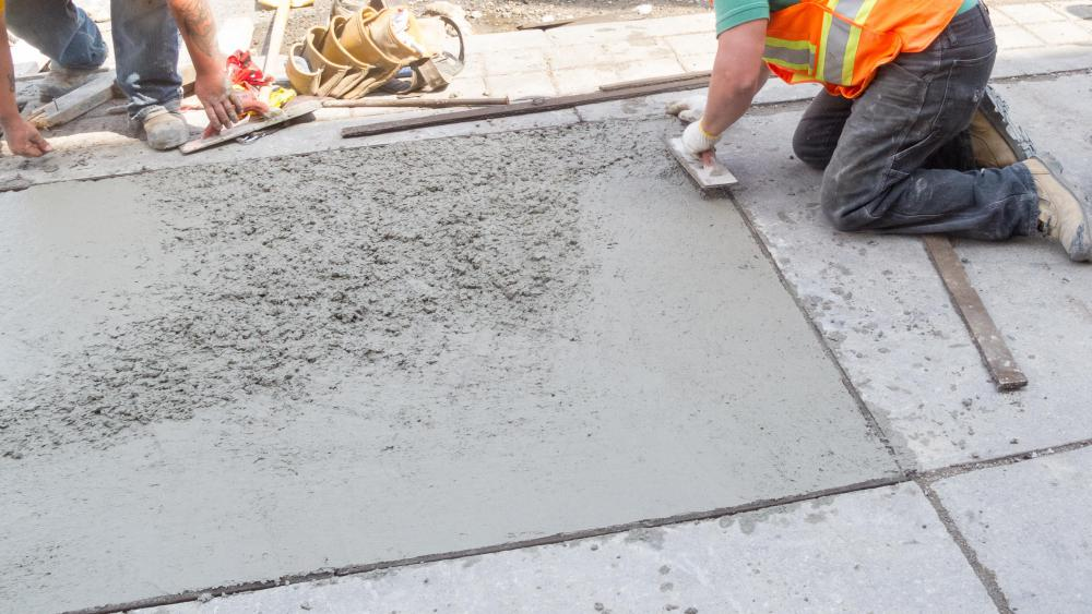 Plain concrete hardens in place after it is poured.