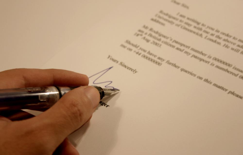 Legal cover letters should be signed by hand in blue or black ink.