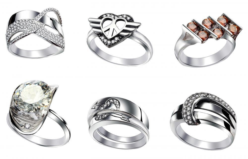 Rhodium plated rings.