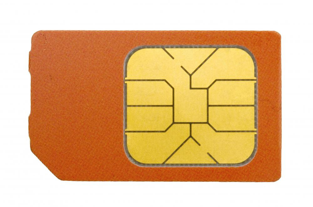 A SIM card, which is used in GSM phones.