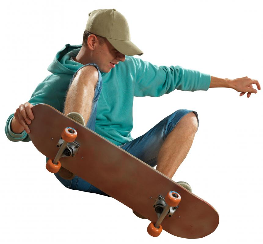 A skateboard has many parts, including the wheels, deck and bearings.