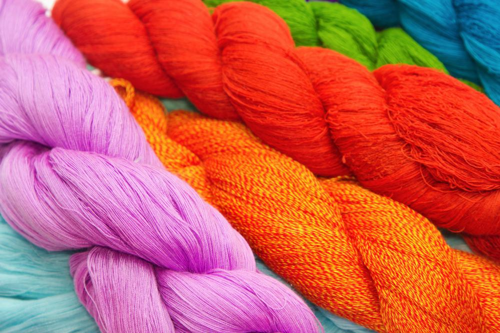Polyester yarn is made from man-made polymers.