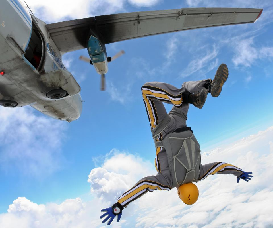 A person skydiving while on vacation.
