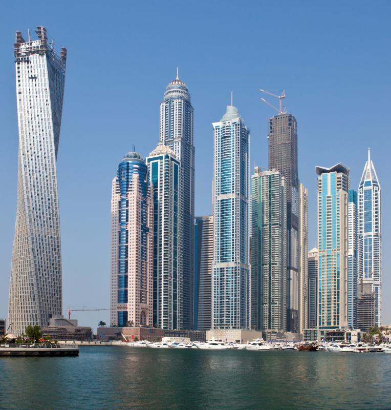 Dubai has many tall buildings, including one of the world's tallest.