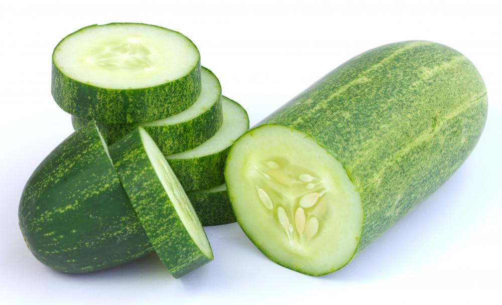 A sliced salad cucumber.