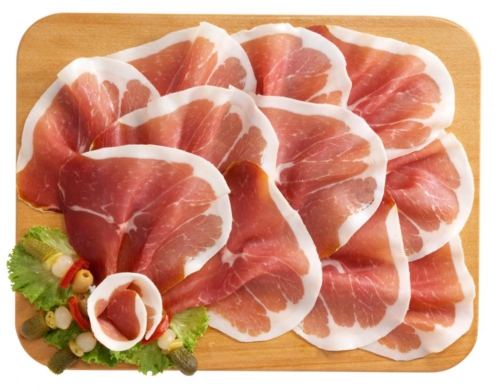 Sliced prosciutto, a main ingredient in.