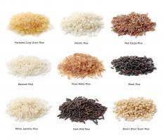 Different types of rice, a cereal crop.