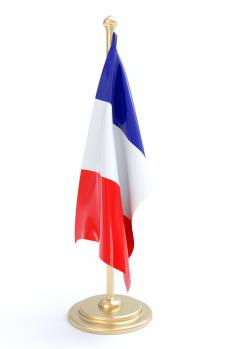 The French flag is red, white, and blue.