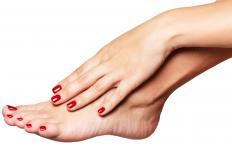 Manicure and pedicures are often finished with an application of nail polish.
