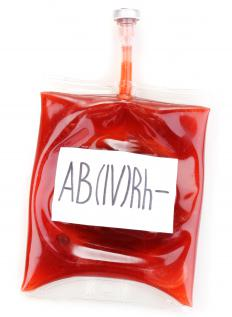 A pouch of AB- blood.