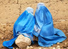Two women wearing burkas.