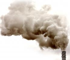 Factory pollution, a type of business waste.