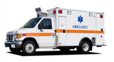 An ambulance may be used to transfer a patient between hospitals.