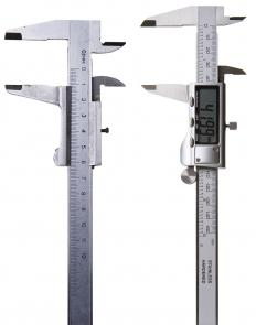 There are analogue, or vernier (l), and digital (r) height gauges.