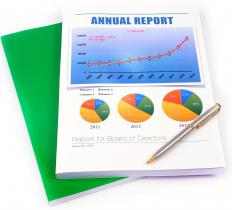 A company's annual report contains the company's balance sheet and income statement, among other financial information.