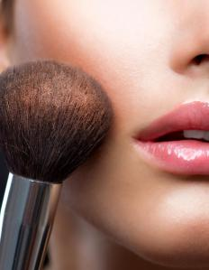 Experts recommend that blush should be applied to the apples of the cheeks.