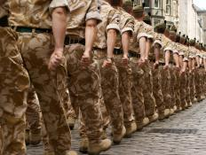 Soldiers might follow a military cadence when marching.