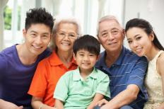 A multi-generational Chinese family.