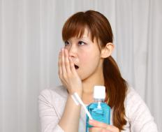 Brushing one's teeth should accompany the use of mouthwash to combat bad breath.