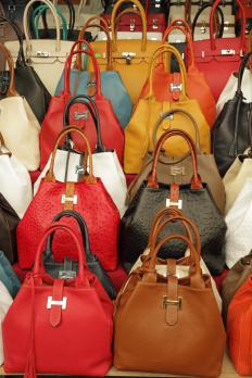 Leather may be used to create handbags.