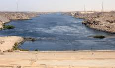 The Aswan Dam controls the flow of the Nile river through Egypt.