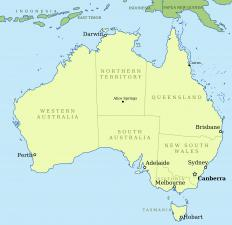 Australia has several temperate areas in which different varieties of Patersonia are found, including along the coastline in the Southeast quadrant.