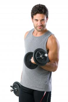 Dumbbells feature weight plates.