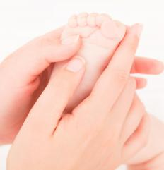 Baby reflexology training or therapy is typically performed on the feet.