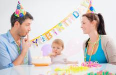 Birthday party banners are often hung with putty adhesive.