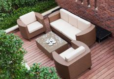 Outdoor patio sets include benches, chairs, and tables.