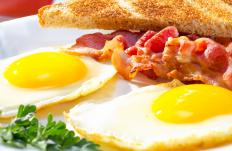 Eggs may be served with Irish bacon.