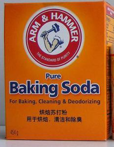 Baking soda and baking powder, which are commonly used in baking.