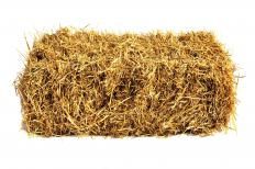 Small hay bales are typically secured with twine.